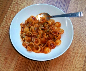 Orecchiette with tomato cockle sauce
