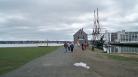 View of Salem Maritime National Historic Site, with docked Friendship of Salem