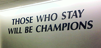 Sign outside the locker rm