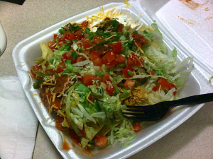 This is the taco salad that ate your desk.