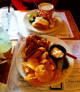 Fried clam po'boy, clam chowder and mini crab roll, Cappy's Chowder House