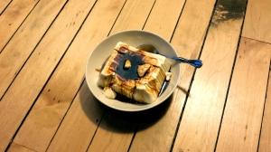 Soft tofu, orange blossom honey, and miel de cacao