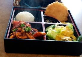Spicy Squid bento box, Teriyaki and Korean House