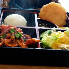 Spicy Squid bento box, Teriyaki and Korean House