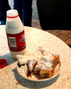 Beignets and milk, Cafe du Monde