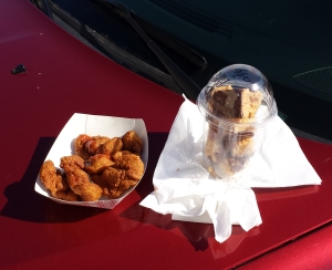 Fried chicken gizzards and peanut butter crisps, some Iowa gas station