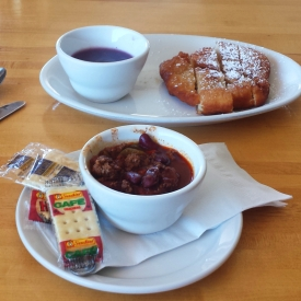 Buffalo chili and fry bread with wojapi, Cedar Pass Lodge, Badlands National Park