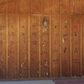 Back wall of Jim Gatchell Memorial Museum showing cattle brands, Buffalo, WY