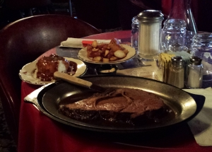 Prime rib with mashed and roasted potatoes, Irma Hotel, Cody, WY