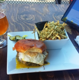 Sam I Am burger, garlic fries, and pluot ale, Crafted Taphouse