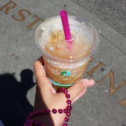 Apple cider slushie (with the free beads I got on my hand), Pike Place Market, Seattle