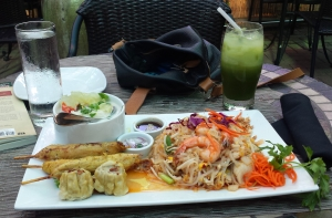 Pad thai, chicken satay, tom kha soup, siu mai with green thai iced tea - Nicky's Thai, Pittsburgh, PA