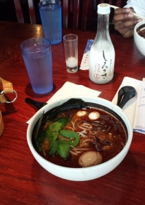 Lobster garlic pork broth with extra soft-boiled egg and soft-shell crab, Ramen Parlor, San Mateo